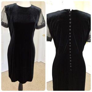 Black Velvet Dress w/ Sheer Beaded Sleeves